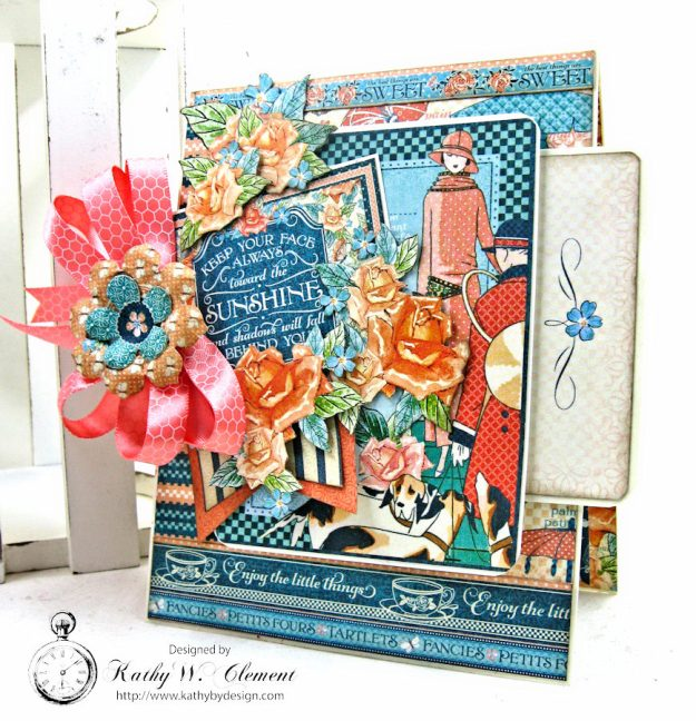 Graphic 45 Cafe Parisian Keep Your Face Toward the Sunshine Card by Kathy Clement for Really Reasonable Ribbon Photo 2