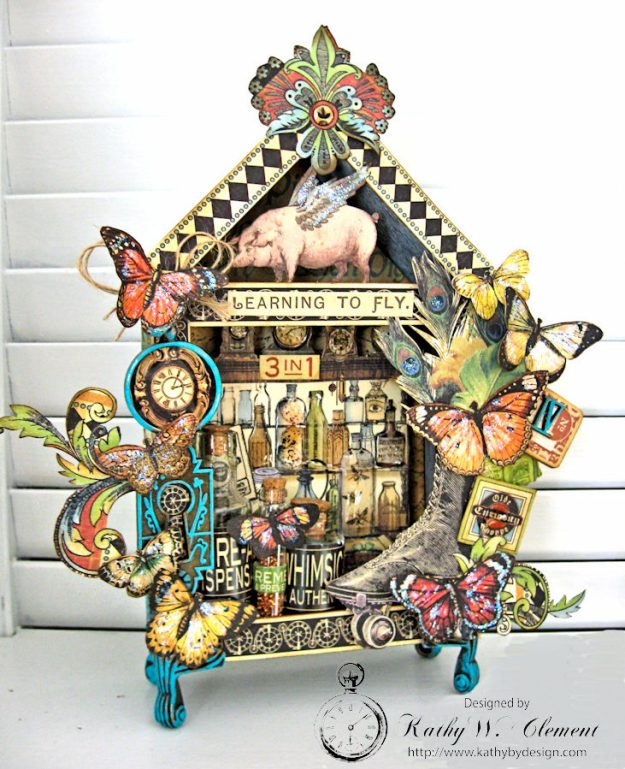 Graphic 45 Olde Curiosity Shoppe Vignette House for Frilly and Funkie Count Me In Challenge by Kathy Clement Photo 1