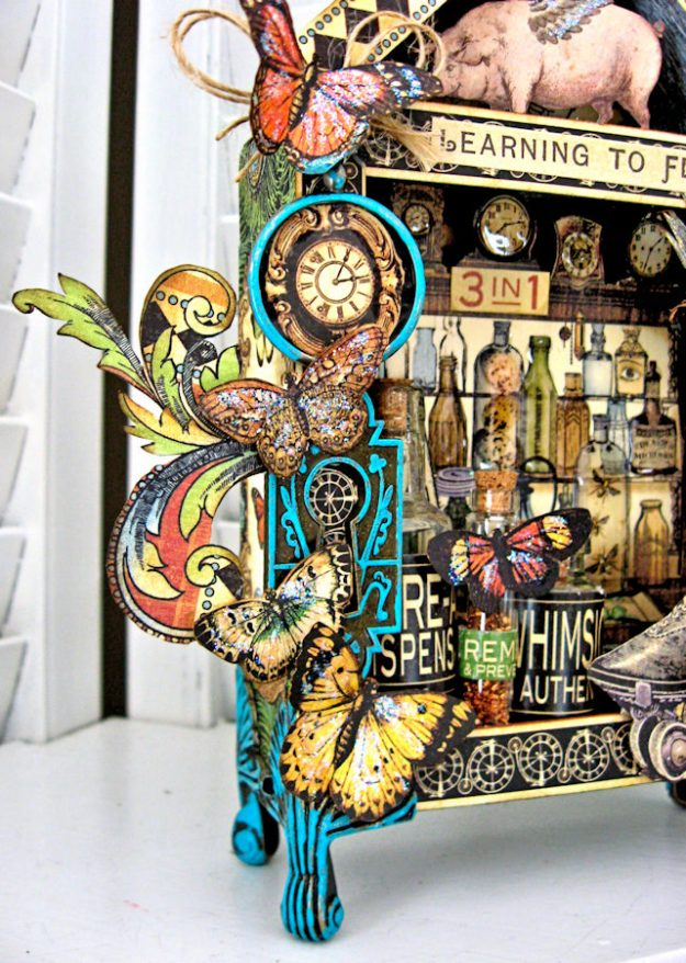 Graphic 45 Olde Curiosity Shoppe Vignette House for Frilly and Funkie Count Me In Challenge by Kathy Clement Photo 5