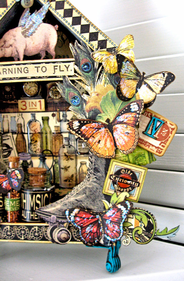 Graphic 45 Olde Curiosity Shoppe Vignette House for Frilly and Funkie Count Me In Challenge by Kathy Clement Photo 6