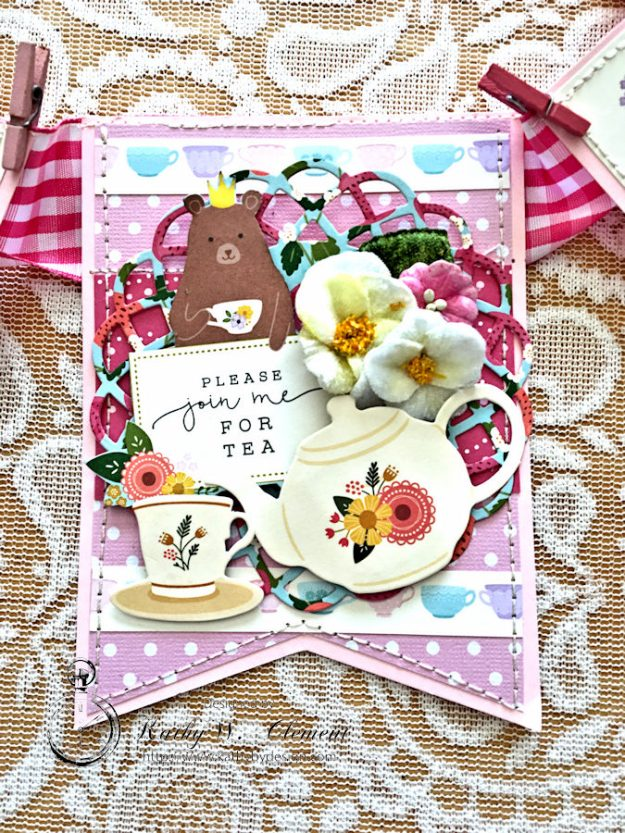 Tealightful tea party banner by Kathy Clement for Petaloo International Photo 3
