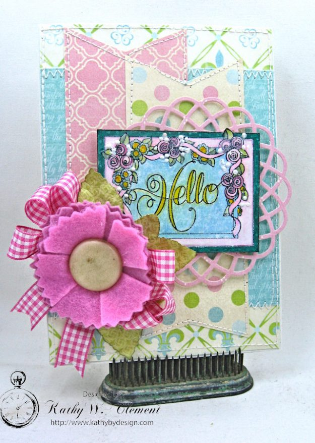 Hello Springtime Card with Felt Flowers by Kathy Clement for Tammy Tutterow Designs Photo 8
