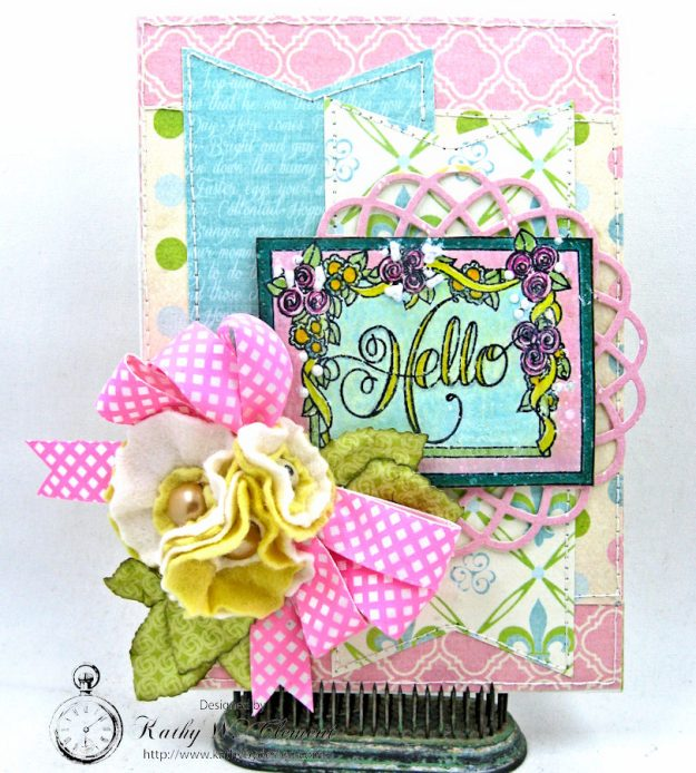 Hello Springtime Card with Felt Flowers by Kathy Clement for Tammy Tutterow Designs Photo 11