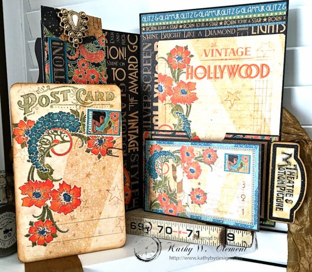 Graphic 45 Vintage Hollywood Four Fold Folio Tutorial by Kathy Clement for Frilly and Funkie Photo13