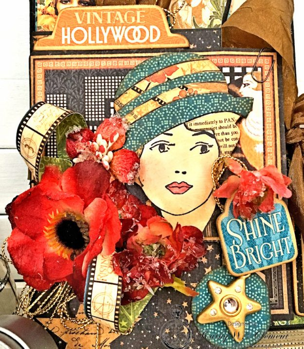Graphic 45 Vintage Hollywood Four Fold Folio Tutorial by Kathy Clement for Frilly and Funkie Photo 2