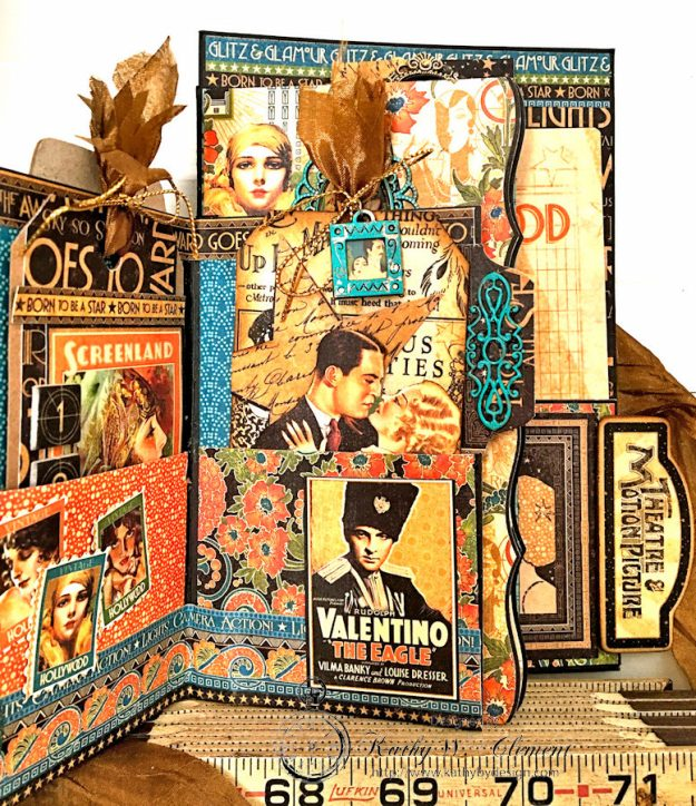 Graphic 45 Vintage Hollywood Four Fold Folio Tutorial by Kathy Clement for Frilly and Funkie Photo 6