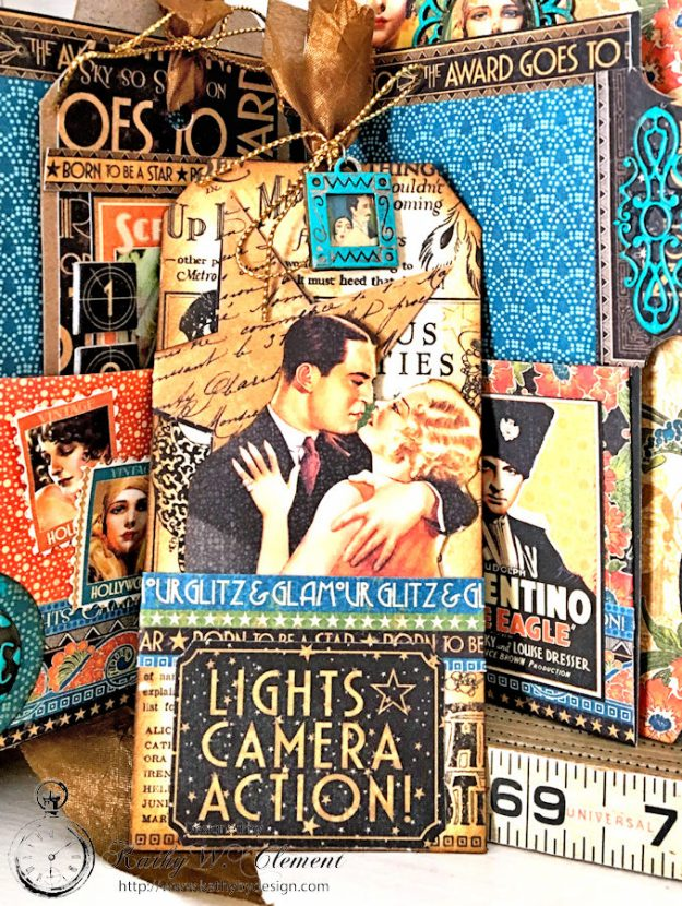 Graphic 45 Vintage Hollywood Four Fold Folio Tutorial by Kathy Clement for Frilly and Funkie Photo 7