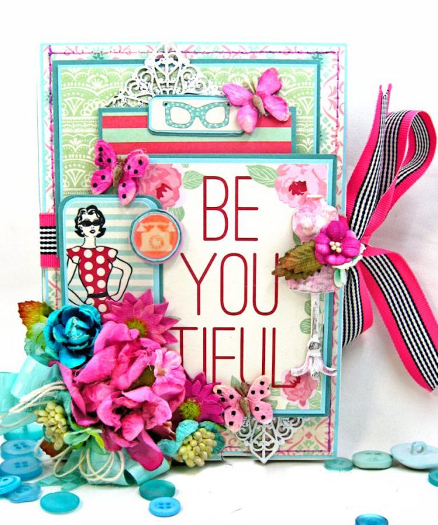 Be YOU Tiful Authentique Fabulous Retro Style Folio Tutorial by Kathy Clement Photo 2