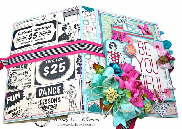 Be YOU Tiful Authentique Fabulous Retro Style Folio Tutorial by Kathy Clement Photo 3