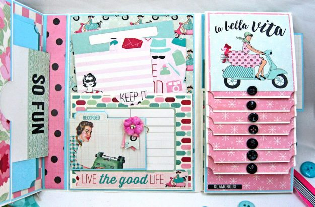 Be YOU Tiful Authentique Fabulous Retro Style Folio Tutorial by Kathy Clement Photo 6