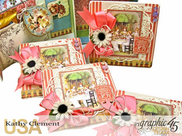 Tea Time Note Cards Tutorial A Place in Time Cafe Parisian by Kathy Clement Product by Graphic 45 Photo 6