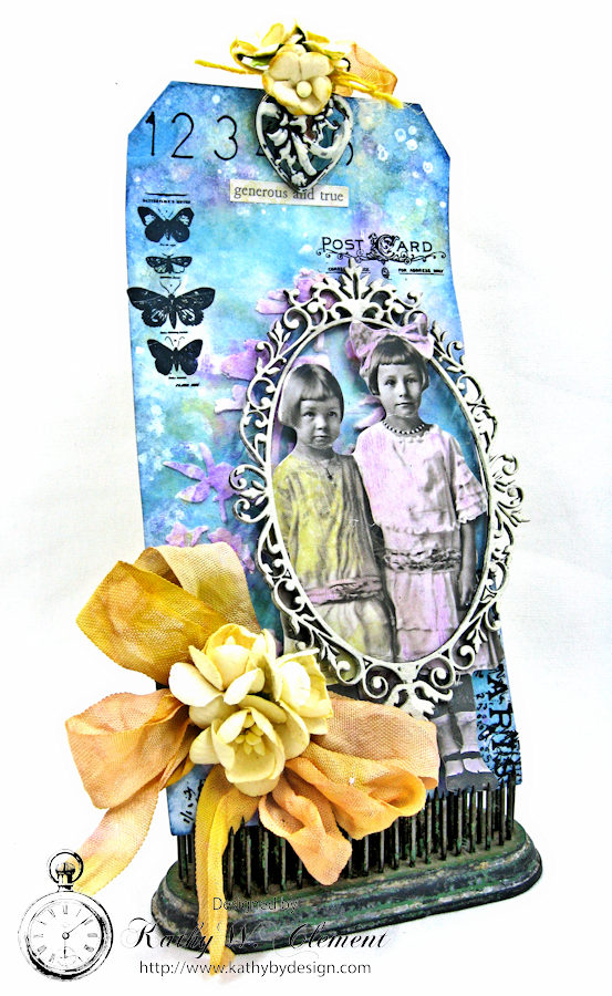 Vintage Art Tag with Distress Oxide Ink Altered Seam Binding Ribbon by Kathy Clement Photo 2