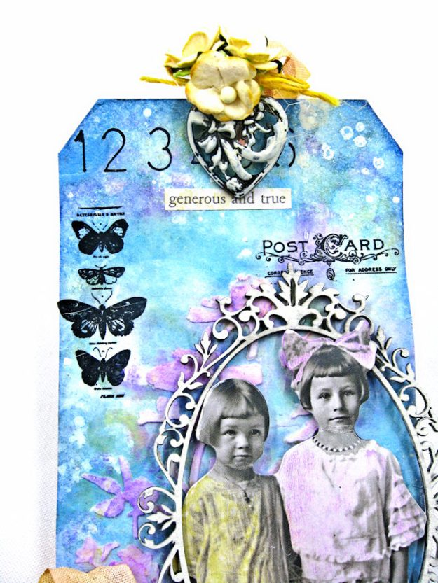 Vintage Art Tag with Distress Oxide Ink Altered Seam Binding Ribbon by Kathy Clement Photo 4