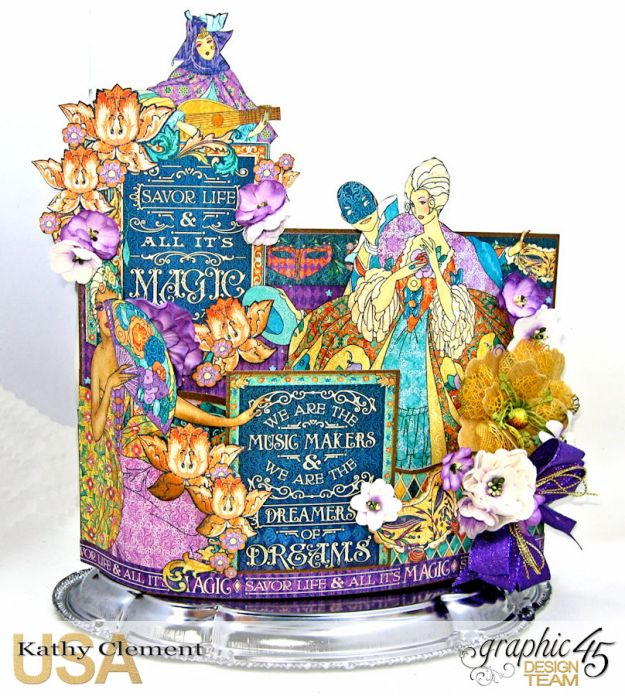 Magical Midnight Masquerade Bendi Card Centerpiece Midnight Masquerade by Kathy Clement Product by Graphic 45 Photo 1