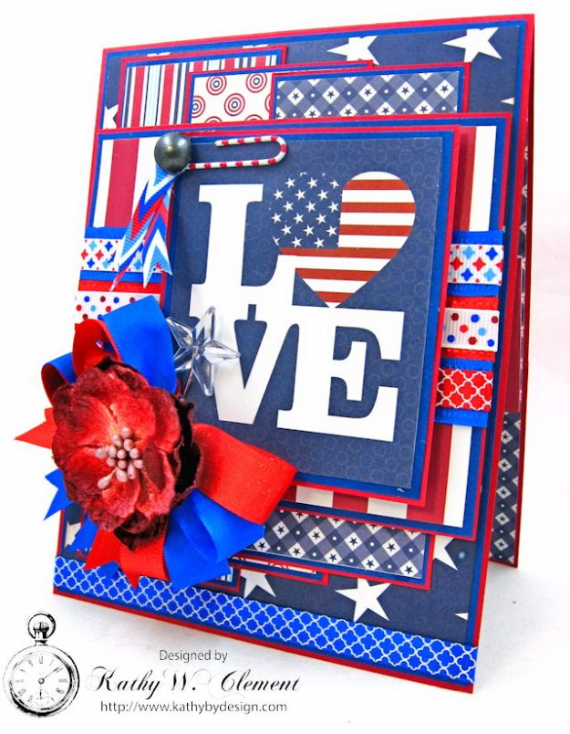 God Bless America Card United by Kathy Clement for Really Reasonable Ribbon Product by Authentique Photo  2