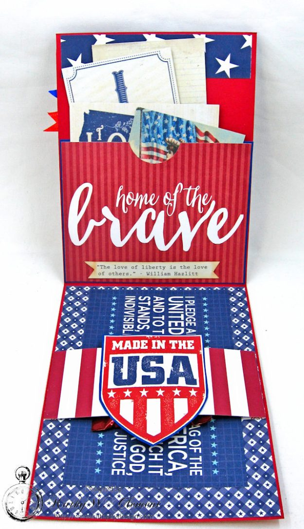 God Bless America Card United by Kathy Clement for Really Reasonable Ribbon Product by Authentique Photo  4