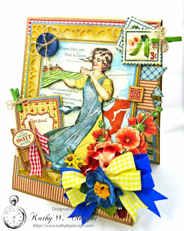 Laundry Day Card Home Sweet Home by Kathy Clement for Really Reasonable Ribbon Product by Graphic 45 Photo 2