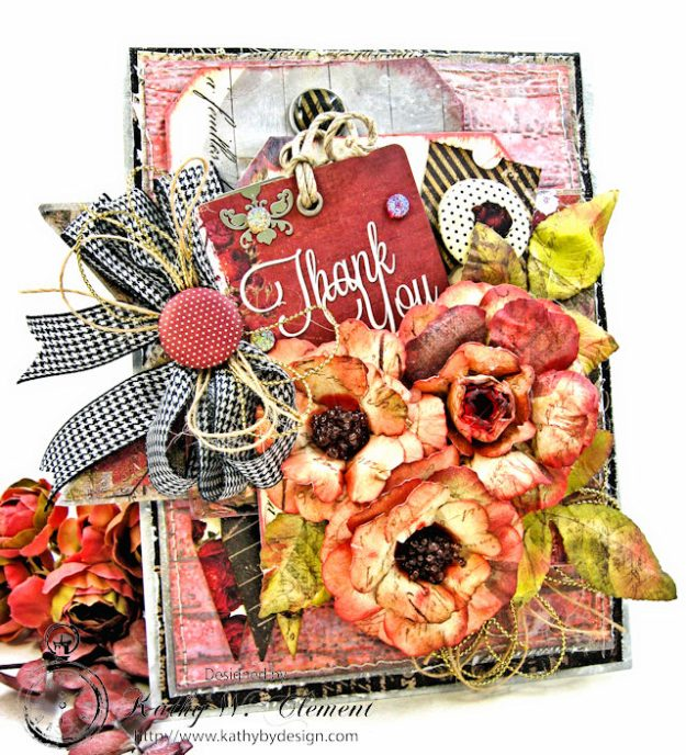 Shabby Posies Thank You Card Tutorial by Kathy Clement for Tammy Tutterow Designs Photo 1