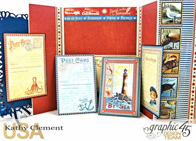 Bathing Beauties Double Gatefold Card Tutorial Place in Time by Kathy Clement Product by Graphic 45 Photo 5