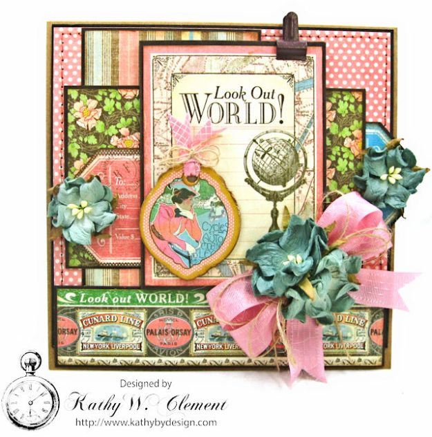 Look Out World Graduation Card with hidden gift card pocket Come Away with me by Kathy Clement for Petaloo by Floracraft Product by Graphic 45 Photo 1