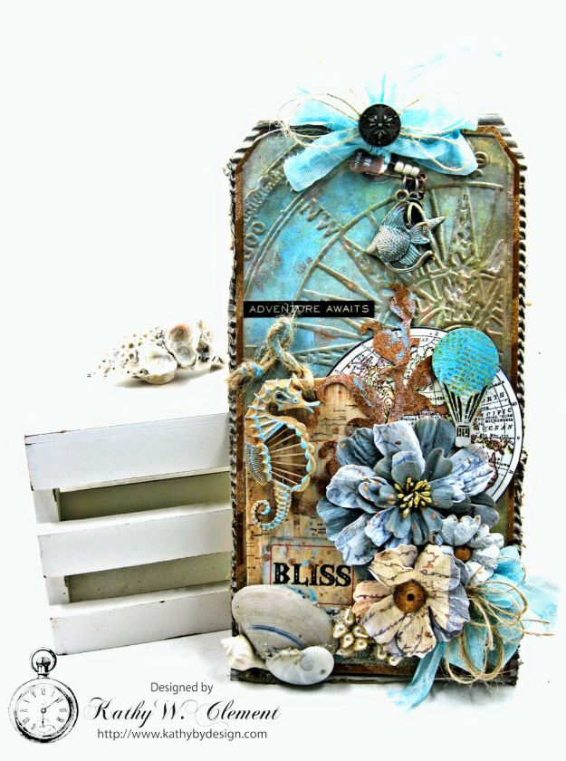 Seaside Summer Mixed Media Tag by Kathy Clement for Frilly and Funkie In the Good Old Summertime Challenge Photo 1