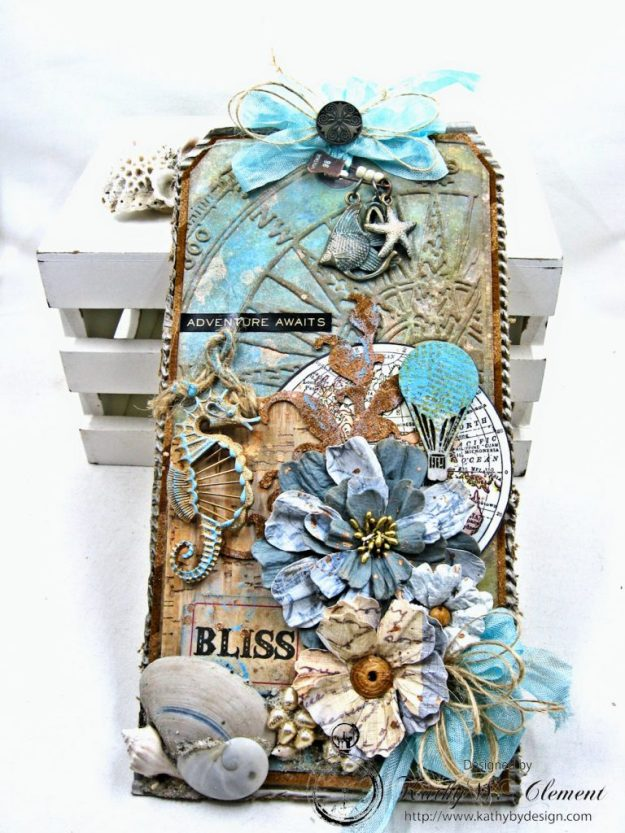 Seaside Summer Mixed Media Tag by Kathy Clement for Frilly and Funkie In the Good Old Summertime Challenge Photo 6