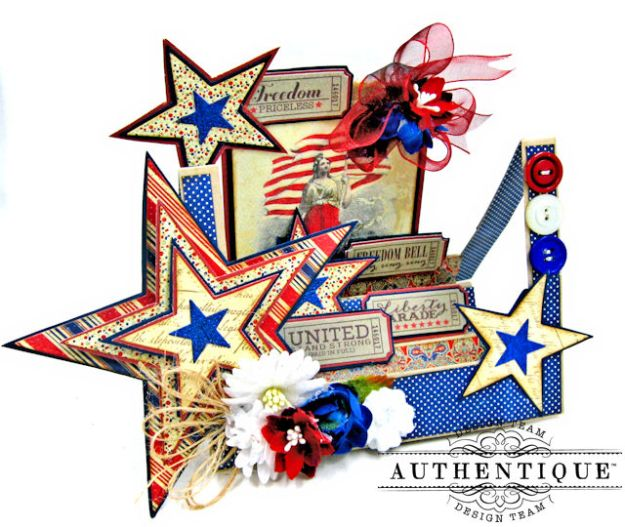 Stars and Stripes Center Step Card Heroic by Kathy Clement Product by Authentique Photo 2