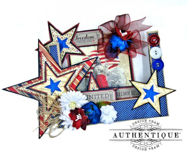 Stars and Stripes Center Step Card Heroic by Kathy Clement Product by Authentique Photo  3