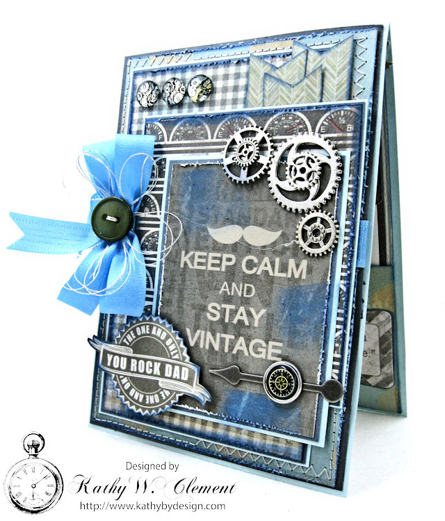 Keep Calm and Stay Vintage Masculine Greeting Card by Kathy Clement for Really Reasonable Ribbon Photo 1