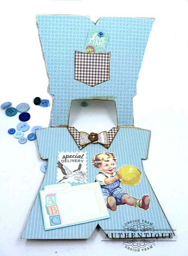 Authentique Beginnings Baby Boy Bib Overall Card by Kathy Clement Photo 3