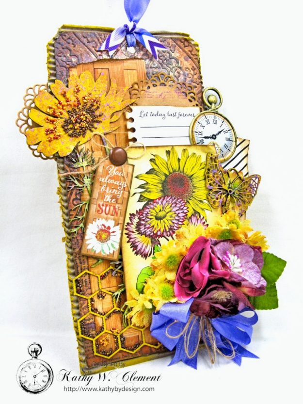 Summer Sunflowers Mixed Media Tag Cheerful by Kathy Clement Product by Authentique Photo 2