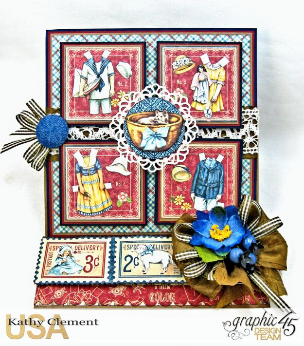 Graphic 45 Paper Doll Family Easel Card Penny's Paper Doll Family by Kathy Clement Product by Graphic 45 Photo 1