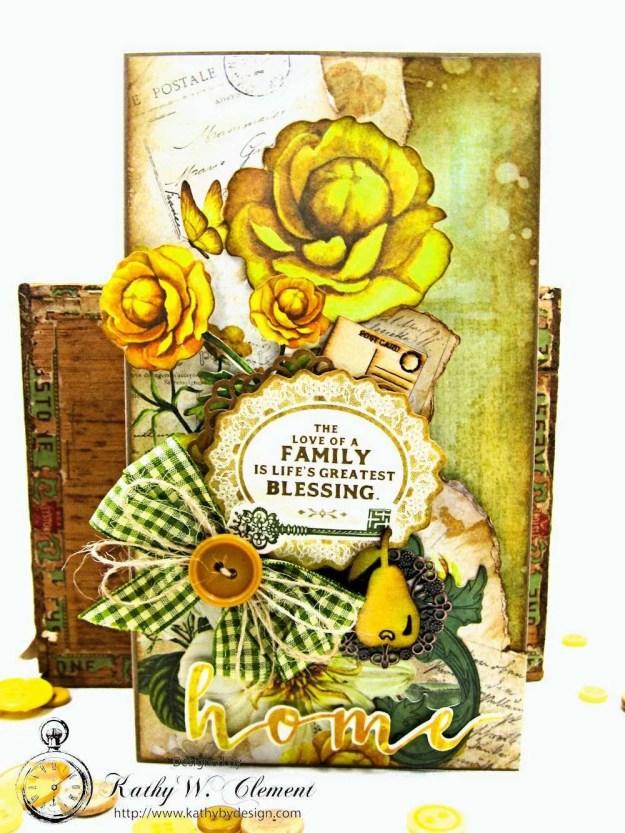 Autumn Hues Tag Pocket Greeting Card by Kathy Clement for Really Reasonable Ribbon Photo 2