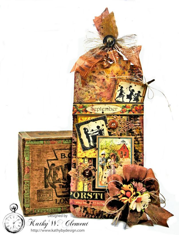 Rusty Falling Leaves Mixed Media Chipboard Tag A Place in Time by Kathy Clement for Frilly and Funkie Product by Graphic 45 Photo 1