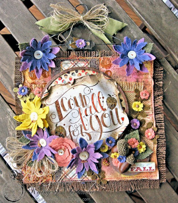 Rustic Autumn Banner with Felt Flowers by Kathy Clement for Tammy Tutterow Designs Photo 1