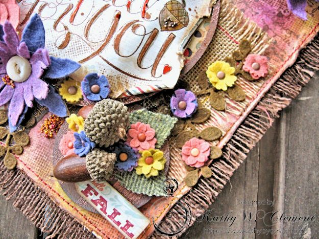 Rustic Autumn Banner with Felt Flowers by Kathy Clement for Tammy Tutterow Designs Photo 7