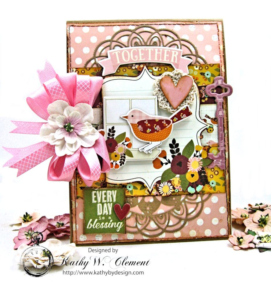 Shabby Chic Birthday Blessings Card Vintage Blessings by Kathy Clement for Really Reasonable Ribbon Product by Simple Stories Photo 1