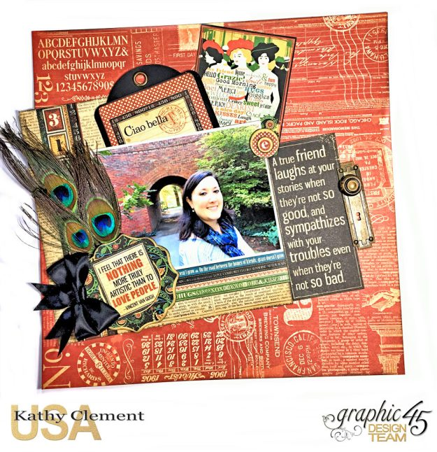 Ciao Bella Layout Tutorial Typography by Kathy Clement Product by Graphic 45 Photo 1