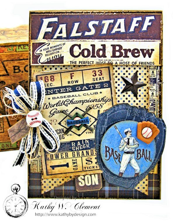 Baseball Themed Birthday Card Rugged By Kathy Clement
