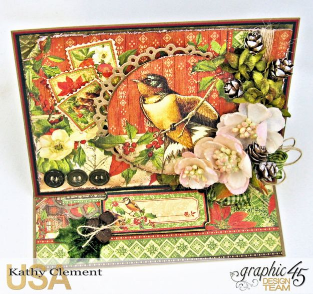 Winter Wonderland Christmas Card Duo Winter Songbird Easel Card by Kathy Clement Product by Graphic 45 Photo 3