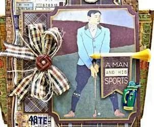 Vintage Style Golf Themed Masculine Birthday Card