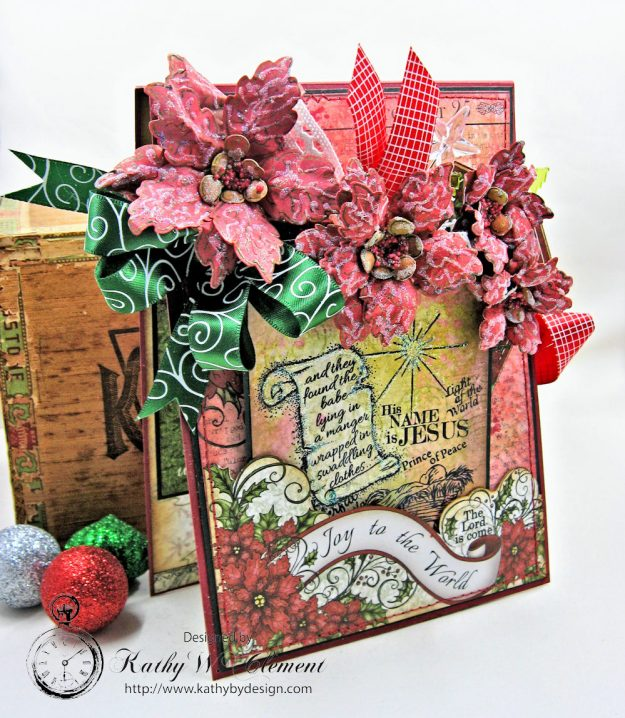 Christmas Joy Card Folio Sparkling Poinsettia by Kathy Clement Product by Heartfelt Creations Photo 3