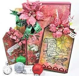 Sparkling Poinsettia Christmas Joy Card Folio Kathy By