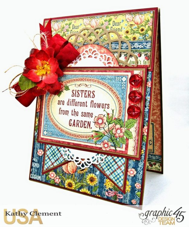 Flowers from the Same Garden Pocket Card Penny's Paper Doll Family by Kathy Clement Product by Graphic 45 Photo 3