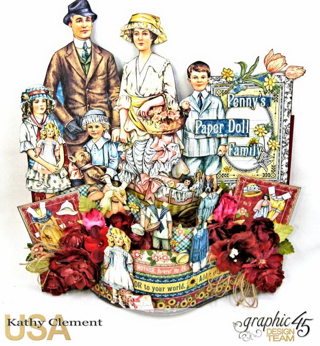 Happy Family Bendi Card Penny's Paper Doll Family by Kathy Clement Product by Graphic 45 Photo 2
