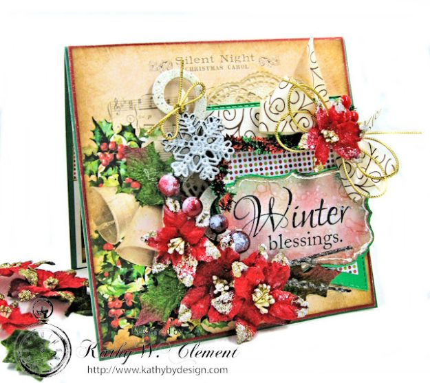Winter Blessings Vintage Style Christmas Card Winter Blessings by Kathy Clement for Really Reasonable Ribbon Product by Gracielle Design Photo 1