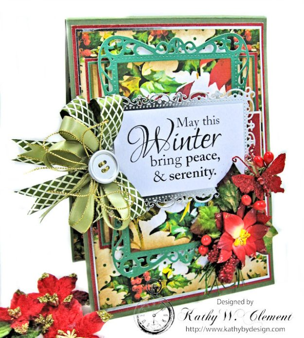 Winter Wishes Christmas Card by Kathy Clement for Really Reasonable Ribbon Photo 1
