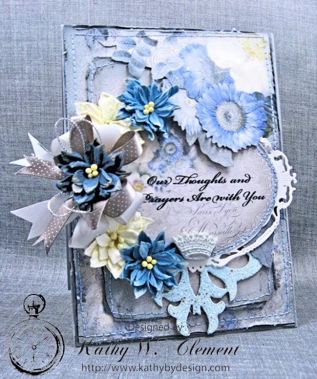 Blue Sympathy Card New England by Kathy Clement for Really Reasonable Ribbon Blog Hop Product by Stamperia Photo 1