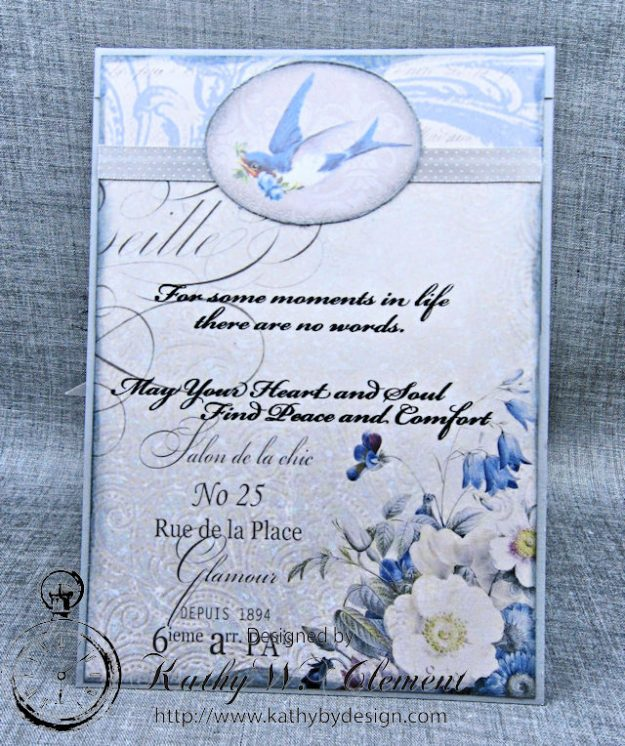 Blue Sympathy Card New England by Kathy Clement for Really Reasonable Ribbon Blog Hop Product by Stamperia Photo 5
