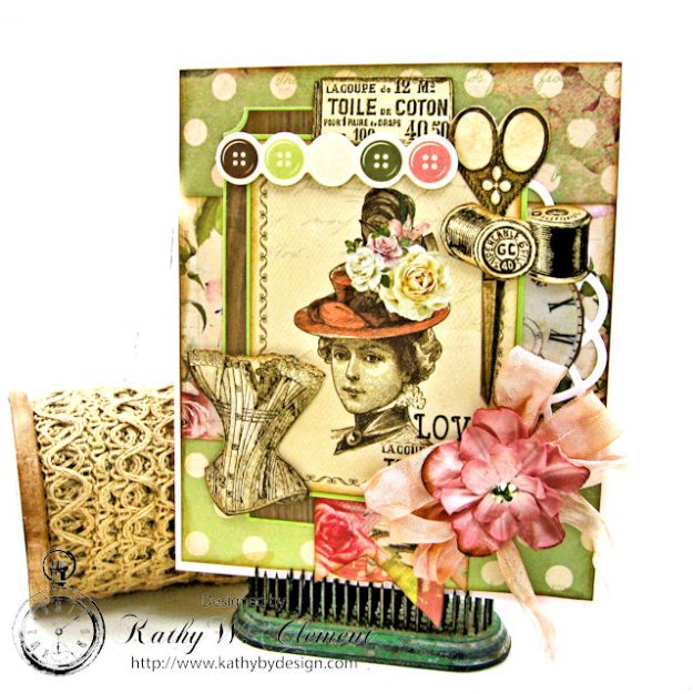 Stitched with Love Friendship Card Folio Mademoiselle by Kathy Clement for Really Reasonable Ribbon Product by Kaisercraft Photo 1